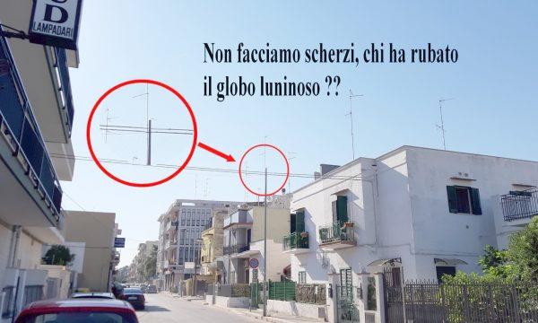 Sparito il globo luminoso in via Ranieri a Palese