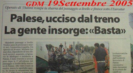19-9-2005 Altro sangue binari a Palese.